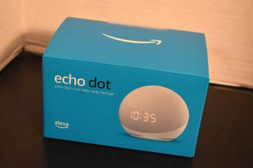 All-new Echo Dot 4th Gen Smart speaker with clock and Alexa GLACIER WHITE NEW