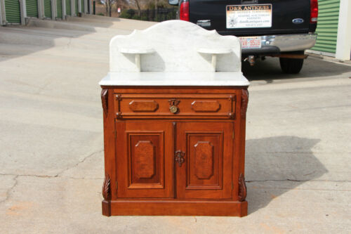 Fine Walnut Victorian Marble Top Washstand Scalloped Backsplash w Candle Holders