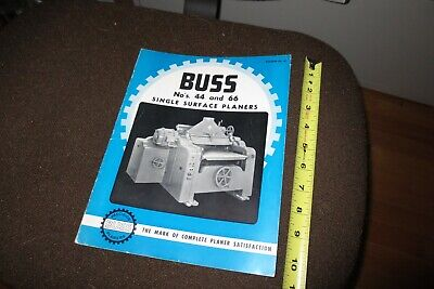 Buss Wood Planer Manual Models 44 And 66 Single Surface Wood Sales Literature
