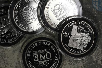Five  5  1984 Proof Sunshine Mine 1 Oz  999 Silver Rounds   100Th Anniversary