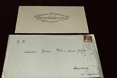 Dokument Urkunde Brief mit Karte zur Vermählung 6.05.1921