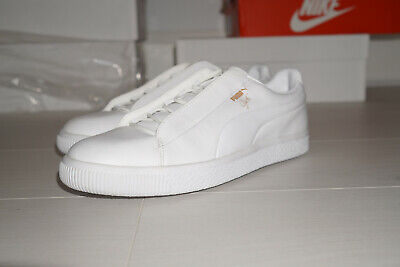 Puma Clyde 2  UK 9.5 White Laceless Strech Lace Rare