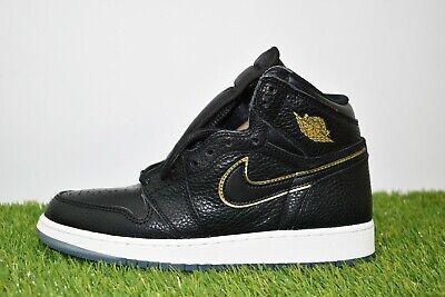 Nike Air Jordan 1 Retro High OG Size 7Y Big Kids 575441-031 Black Gold Shoes