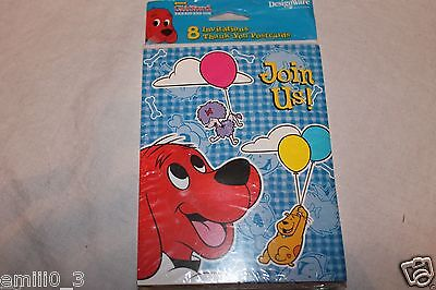NEW CLIFFORD THE BIG RED DOG 8 INVITATIONS AND THANK YOU  PARTY SUPPLIES (Clifford Party Supplies)
