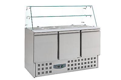 Saladette 3 Türen, mit Glasaufsatz, Kühltheke, Belegstation