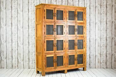 Vintage Industrial Wooden Pigeon Hole Cupboard Cabinet Kitchen Housekeepers
