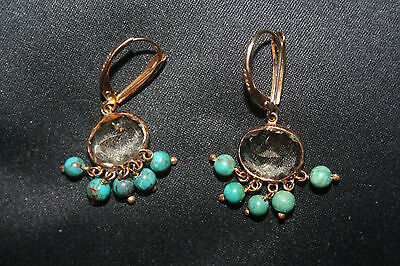 Vintage14K Yellow Gold Earrings With  a crystal & 5 Turquoise