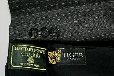 TIGER of SWEDEN Made in Sweden 40S Wool Gray Striped Suit - Flat Pants 35 X 29