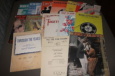 Lot 15 Pieces Vintage Sheet Music Dozen Roses Together Yours Bewitched & More