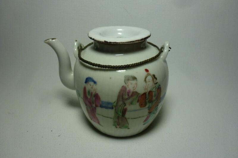Chinese 19thC Porcelain Teapot Tongzhi Mark Figures Metal Handle Ribbed Shape
