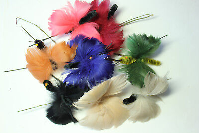 (Feather butterfly trims, 5527 NOS vintage hat millinery supplies 1920s)