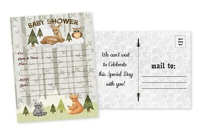 Woodland Baby Shower Invitations Boy Invites Woodland Owl Forest Deer Fox 20 - Owl Boy Baby Shower