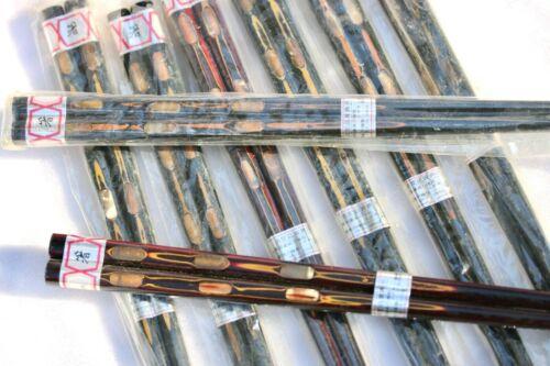 "16 vintage 8 pair MATCHING CHOPSTICKS wood INLAID MOP Abalone 9"" Japan cinnebar"
