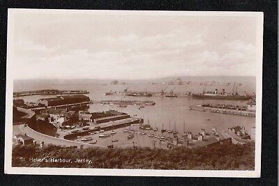 L@@K  St Helier's Harbour Jersey 1932 RP Postcard ~ GOOD QUALITY CARD