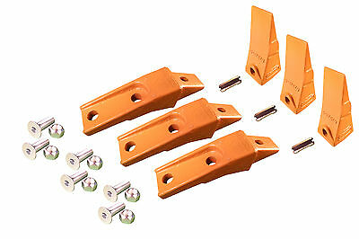 3 - Bobcat Style Skid Steer Bucket Teeth W Bolt On Shanks Pins Hardware
