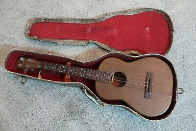 Vintage 1950s Vega Baritone Ukulele Uke Easy Project (Needs Nut) Chipboard Case