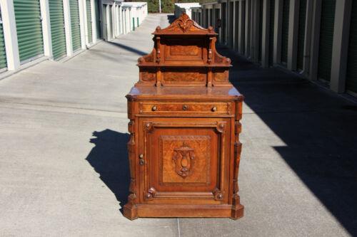 Fancy Burl Walnut Victorian Marble Top Server Cabinet Credenza Carved Backsplash