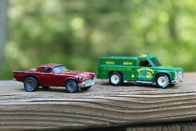 Vintage Hot Wheels Lot of Two (2) Real Riders 57 T-Bird And Forest Service Truck