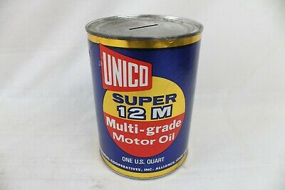 Vintage Metal Gas & Oil Can Bank Advertising Unico Super 12M Motor Paper Label