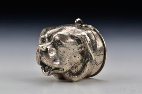 American Coin Silver Figural Dog Snuff Box 19th Century