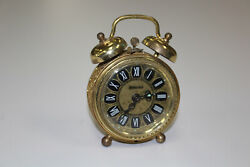 b26 Wedgefield Vintage Gold Tone Wind Up Travel Alarm Clock Made In West Germany