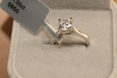 Solitaire Diamond Engagement Ring 1ct 18k White Gold Toned Round Cut Size 7.5