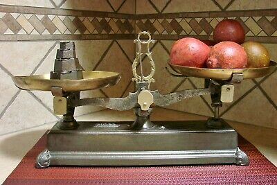 Antique French Force 5 Kilo Kitchen Scale Scales Vintage Kilogram Weights