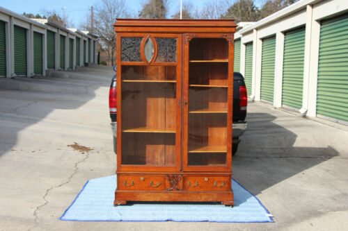 Fancy American Arts & Crafts Oak Bookcase with Pagoda Top Ca.1910