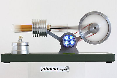 Stirling Motor Heißluft  Stirling Engine Modell a200 treibt 4 LED´s an