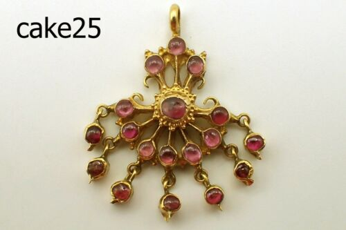 Vintage Handcraft Royal Siam Kingdom 20K SOLID Gold Genuine Ruby Pendant #cake25