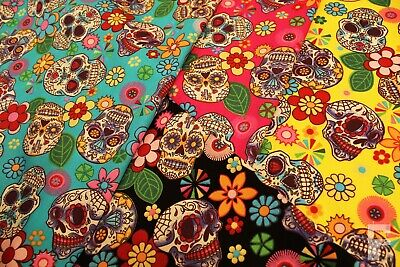 100% COTTON POPLIN FABRIC WITH SUGAR SKULLS - MEXICAN DAY OF THE DEAD -HALLOWEEN ()