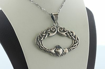 Vintage Sterling Silver Celtic Knot Claddagh Hands Clasping Heart Oval Pendant