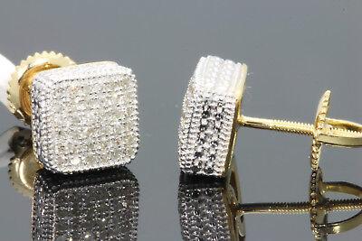 .32 CARAT STERLING SILVER MENS WOMENS 8 mm 100% REAL DIAMONDS EARRINGS STUDS
