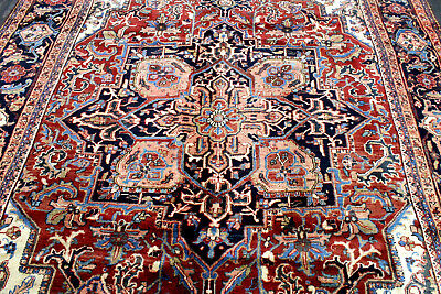 8X11 1940s EXQUISITE ELEGANT MINT ANTIQUE HAND KNOTTED HERIZZ GEOMETRIC WOOL RUG