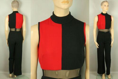 Vtg 80s HIGH DRAMA Blck Stretch Dress Jumpsuit Romper Jumper Pants Sheer Waist 4