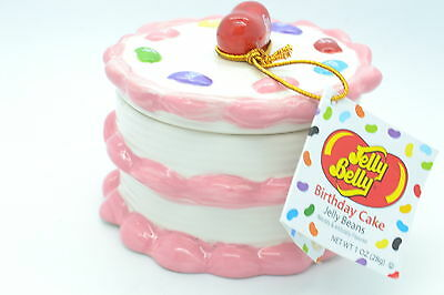 Jelly Belly Pink Ceramic BIRTHDAY CAKE & Jelly Beans HTF SUP