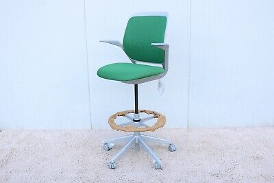 Steelcase Cobi Adjustable Ergonomic Swival Drafting Stool Chair In Green Color