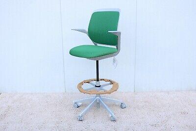 Steelcase Cobi Adjustable Ergonomic Swival Drafting Stool Chair In Green Color