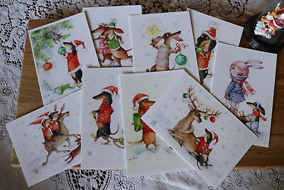"9psc Dachshund Christmas post cards Inga Izmaylova SmG Doxie 6"" by 4"" Dog cards"