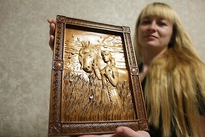 """Epic Wooden Carved picture """"Russian Lady with Horse""""  14"""" size."""
