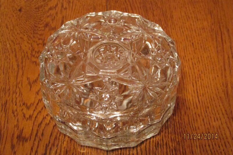 "Vintage Anchor Hocking Clear Prescut EAPC Glass 4"" Covered Trinket ~ Puff Box"