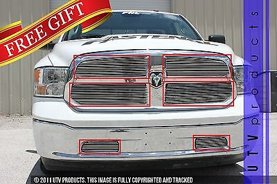 GTG 2013 - 2019 Dodge Ram 1500 6PC Polished Custom Overlay Billet Grille Kit