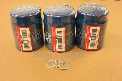 Genuine OEM Honda Oil Filter 3 Pack  w/ Washers (15400-RTA-003) & (94109-14000)