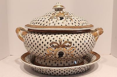 Vintage Style Black and White Checkered Emblem Porcelain Tureen With Tray