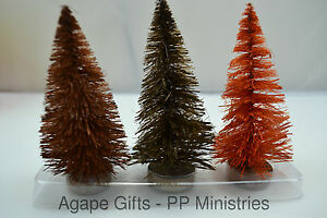 PBK Fall Decor - Small Bottle Brush Sisal Trees 3pc Set #29441