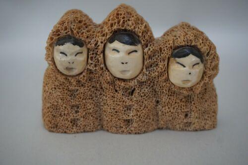 Vintage Inuit Fossilized Whale Bone Face Mask Sculpture Figure of 3 Eskimo