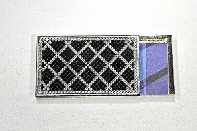 Black White Business Card Holder Metal Case Swarovski Crystals Crystallized