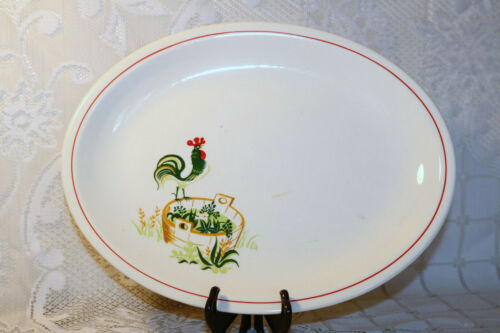 "PADEN CITY POTTERY PROVINCIAL Red Rooster 14"" Oval Ham Turkey Serving Platter"
