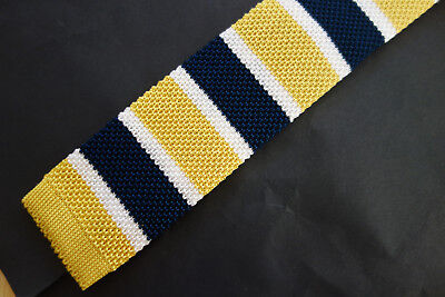 NWT Brooks Brothers Navy Yellow White Silk Knit Tie Trad Ivy League MSRP - Yellow Knit Tie