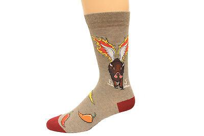 (32436) K. Bell Men's Hot Wings Crew Sock,1 Pair, Brown Heather, Shoe Size 6-12